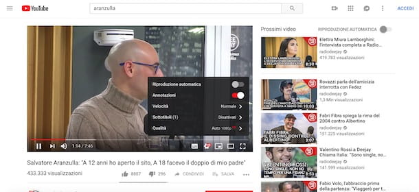 Cambiare la qualità di un video su YouTube da computer