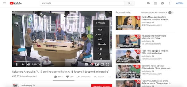 Rallentare un video YouTube