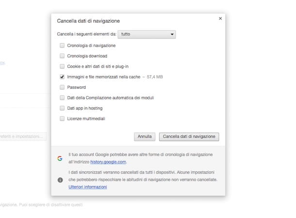 Come svuotare la cache Chrome