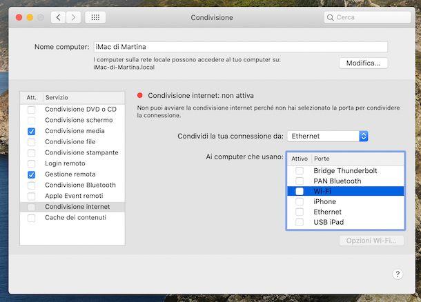 Condivisione internet macOS