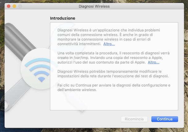 Diagnosi wireless macOS