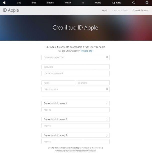 Come creare un ID Apple