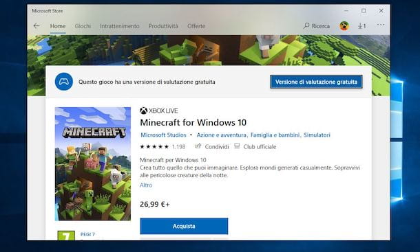 Come installare Minecraft su Windows 10