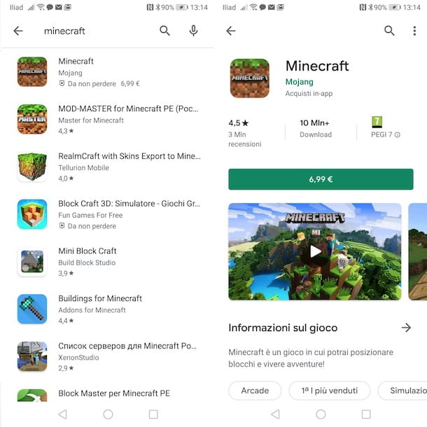 Minecraft per Android