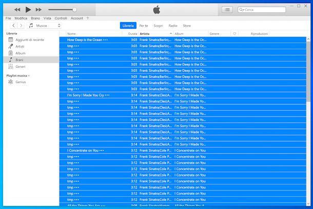 Selezione canzoni iTunes
