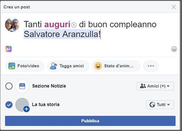 Compleanno FB Post e storia