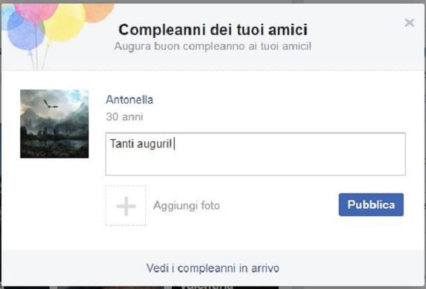 Facebook compleanno notifica