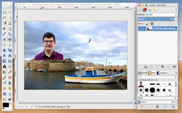 Sovrapporre foto con GIMP