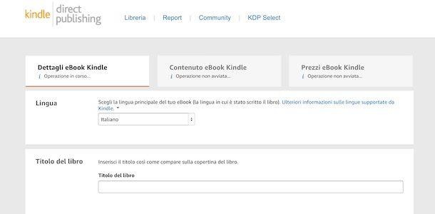 Dettagli eBook Kindle pubblicazione