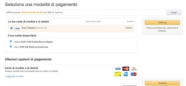Amazon tedesco socnto di 50 euro con carta visa