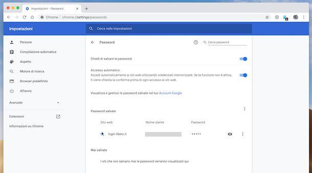 Password email Chrome