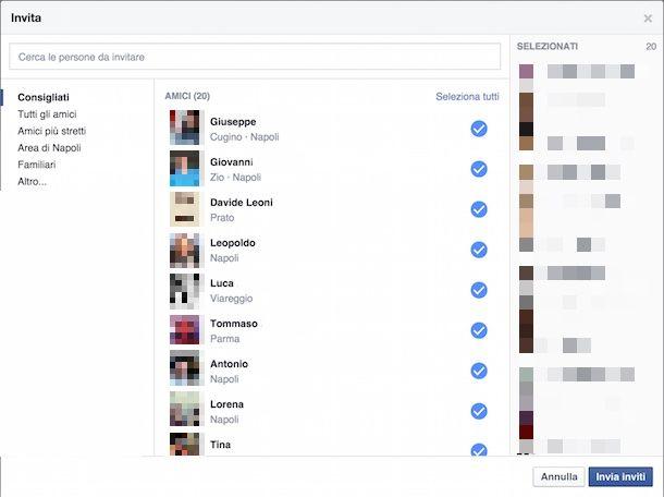 Come selezionare tutti i contatti di Facebook