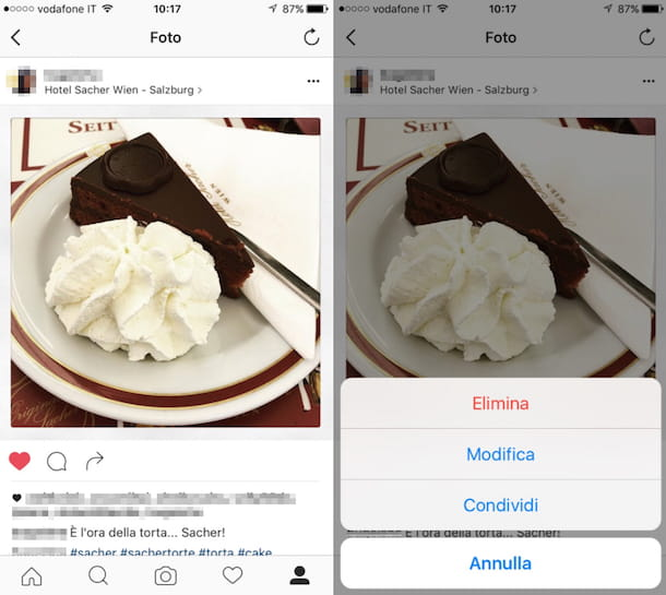 Gestire le foto condivise su Instagram