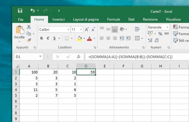 Come sottrarre con Excel