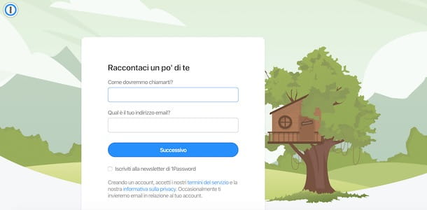 Creare un account su 1Password