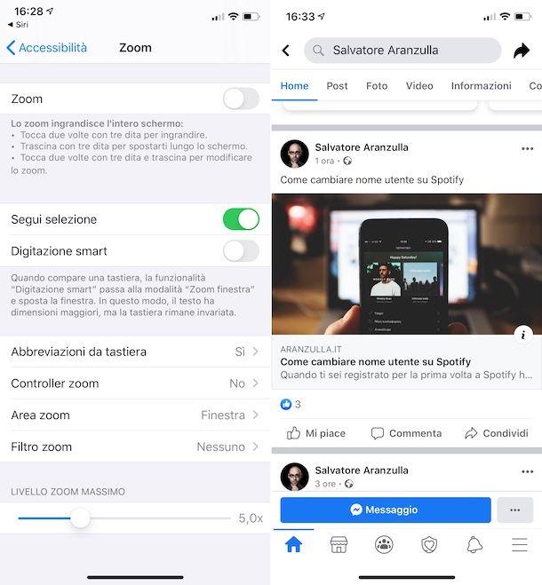 Impostazioni zoom schermo iOS
