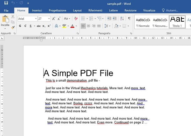 Come convertire un file PDF in Word con Word