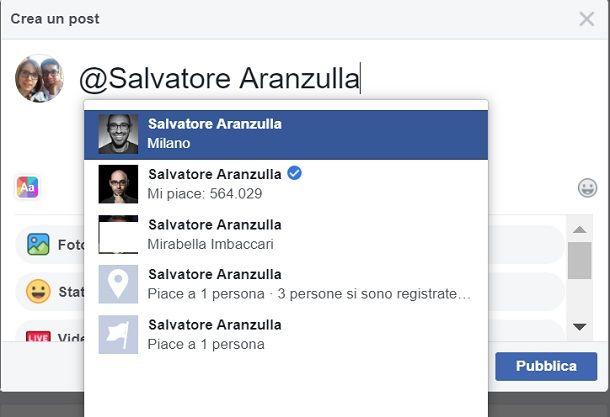 Come menzionare una pagina su Facebook