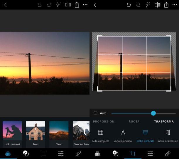 Inclinare foto su Photoshop da mobile