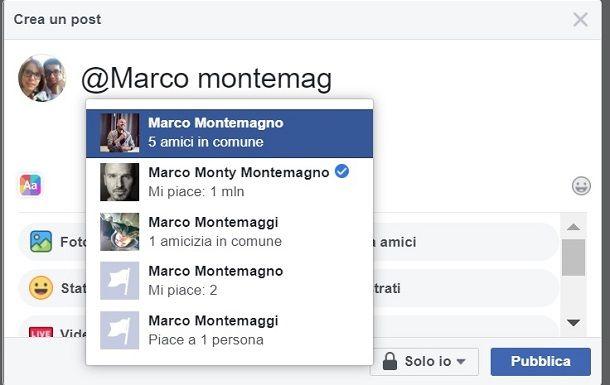 Menzionare su FB i non amici