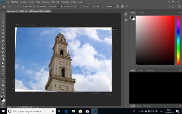 Ruotare un'immagine con Photoshop