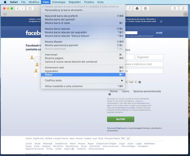 Impostazioni zoom Safari