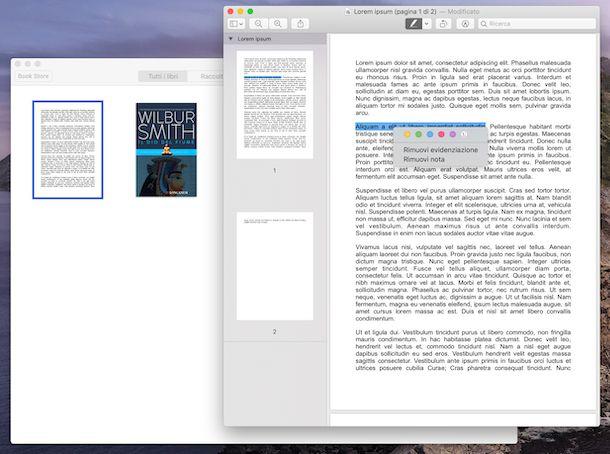 Screenshot che mostra come evidenziare PDF con Libri su macOS