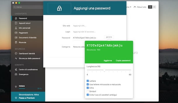 Generare una password con Dashlane