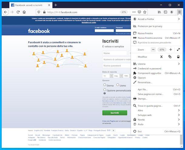 Impostazioni zoom Firefox