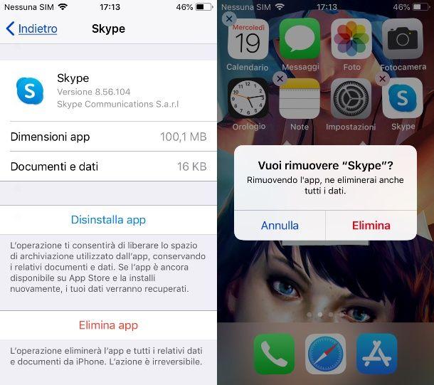 Disinstallare Skype da iPhone