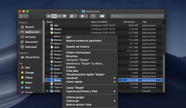 Disinstallare Skype for Desktop da Mac