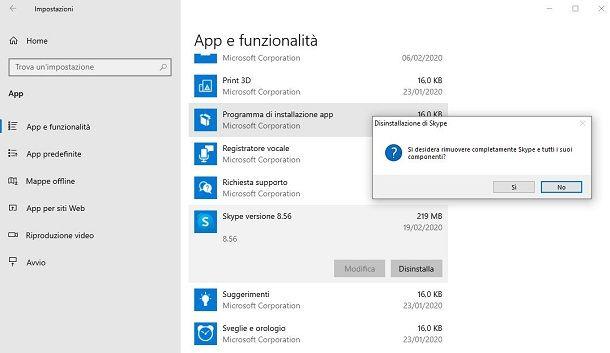 Disinstallare Skype for Desktop da Windows 10