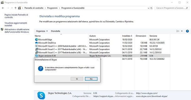 Disinstallare Skype for Desktop da Windows