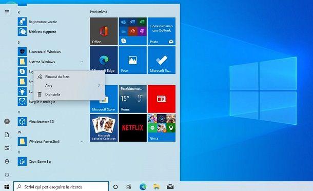 Disinstallare l'app Skype su Windows 10