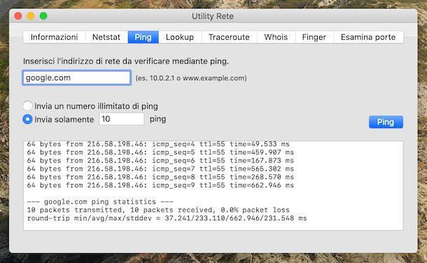 Ping Utility Rete