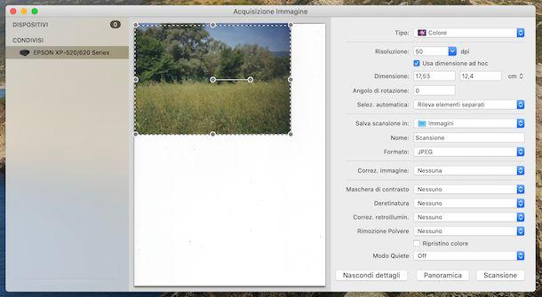 Acquisizione immagine macOS