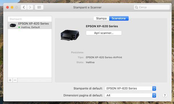 Configurazione scanner su macOS