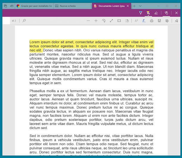 Edge visualizzatore PDF