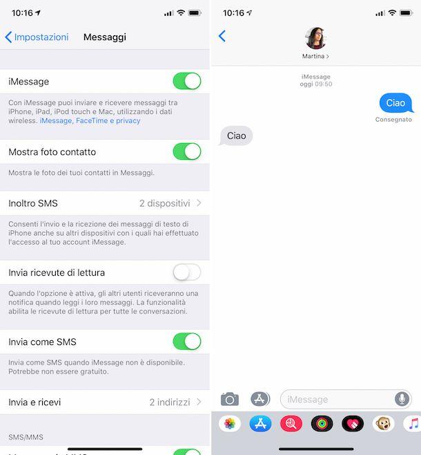 Screenshot che mostra l'uso di iMessage su iPhone