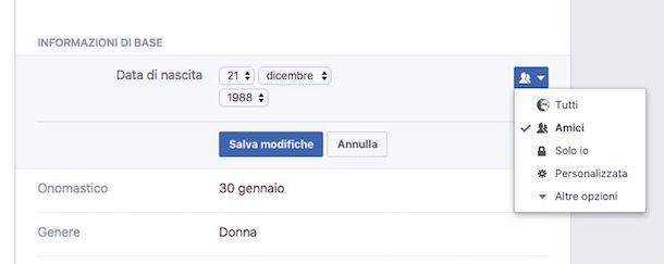 Come mostrare la data di nascita su Facebook
