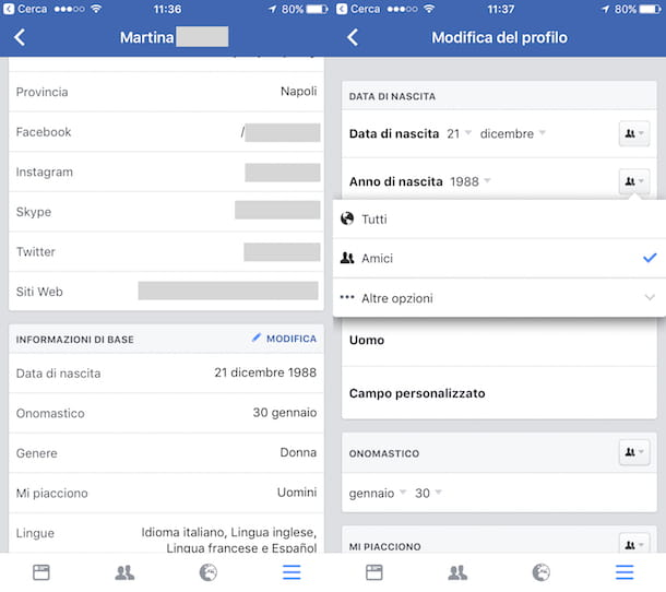 Come mostrare la data di nascita su Facebook