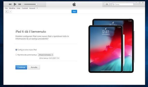 Come configurare iPad con iTunes