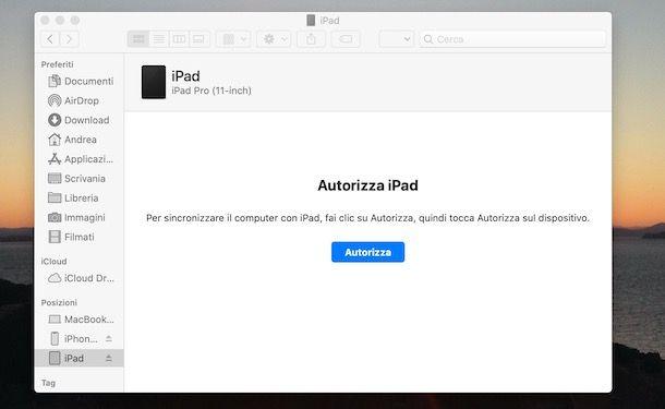 Autorizzare iPad su Mac