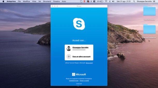 Accedere a un altro account Skype da computer