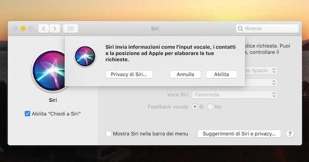 Abilitare Siri su Mac