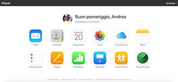 Come archiviare su iCloud da Web