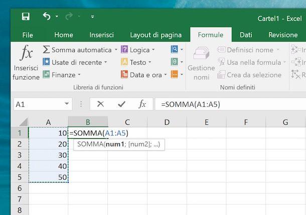 Come sommare una colonna in Excel