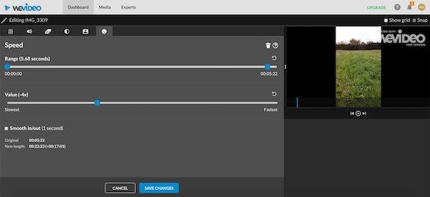 Rallentare un video con WeVideo