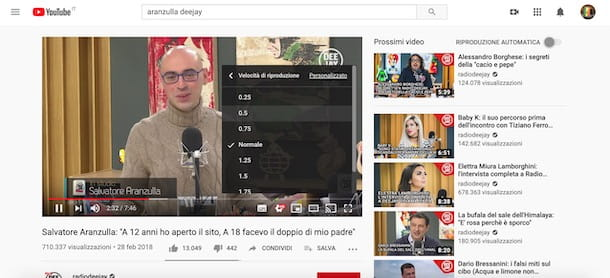 Rallentare un video su YouTube