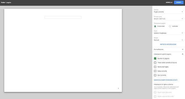 Numerazione di pagina su Fogli di Google